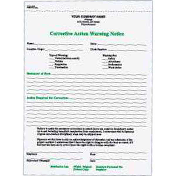 Corrective Action Warning Notice Form - Carbonless two part corrective action warning notice.