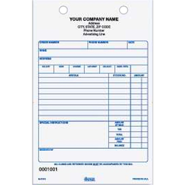 "Register Form - Carbonless register form for gift / jewelry, 5 1/2"" x 8 1/2""."