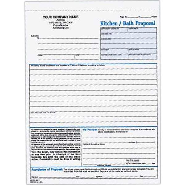 Kitchen / Bath Proposal Form - Three part carbonless kitchen / bath proposal form.