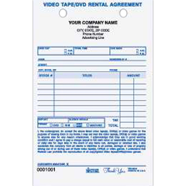 "Video/DVD Rental Register Form - Carbonless video rental register form, two part. 5 1/2"" x 8 1/2""."