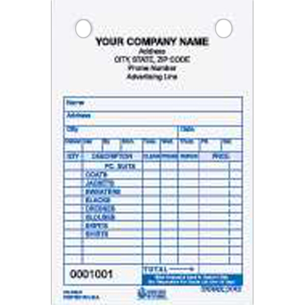 "Dry Cleaner Register Form - Dry cleaner register form, 4"" x 6""."