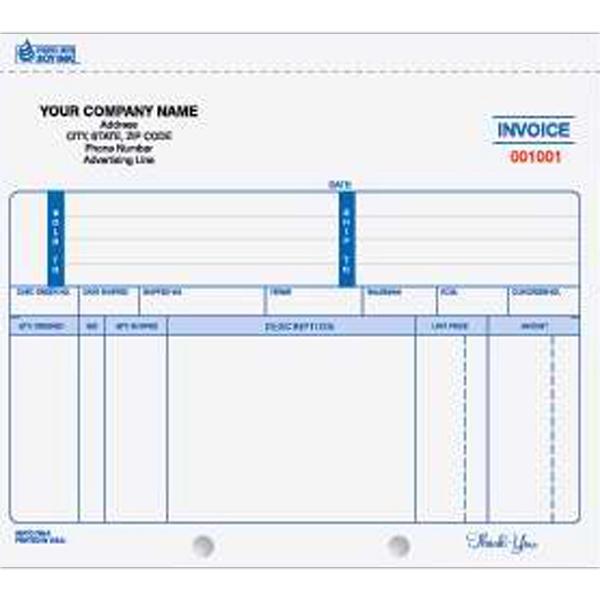 "Invoice - Unruled carbonless multi-part invoice form, 8 1/2"" x 7""."