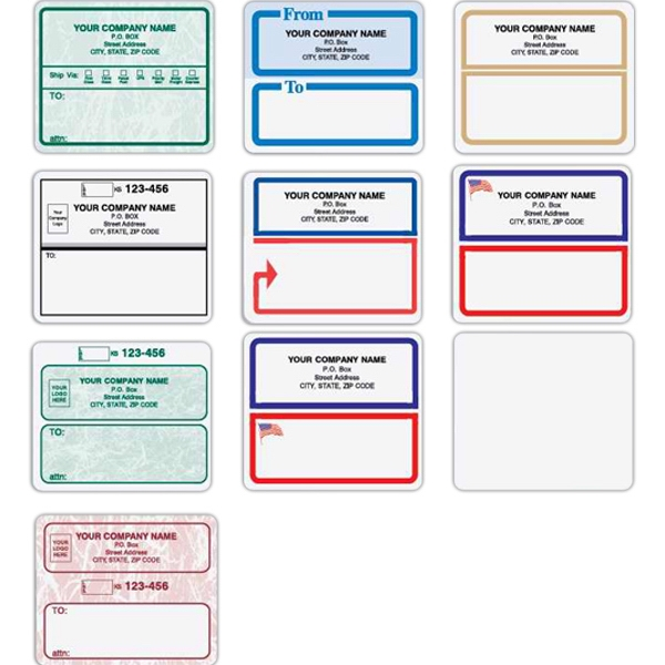 Shipping Label - Pressure sensitive shipping label with flag design in bottom box, 6 per sheet.