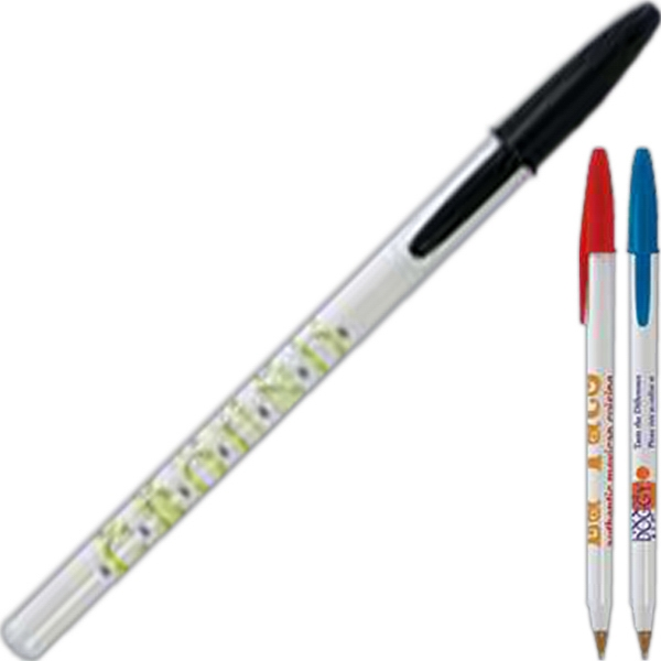 Bic Style Pen - Medium ballpoint pen with black ink. White barrel and color cap.