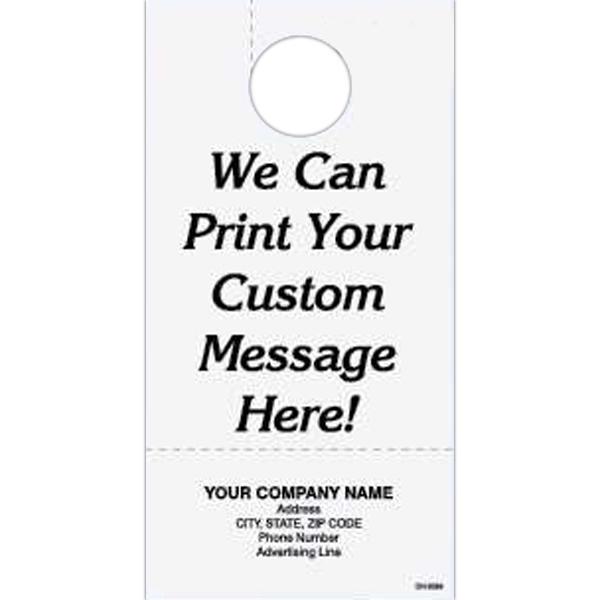 Door hanger - Custom one part door hanger with detachable business card.