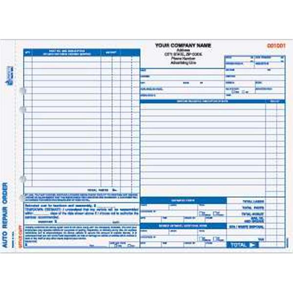 Auto Repair Order Form - Four part auto repair order form, carbonless. Valid in California.