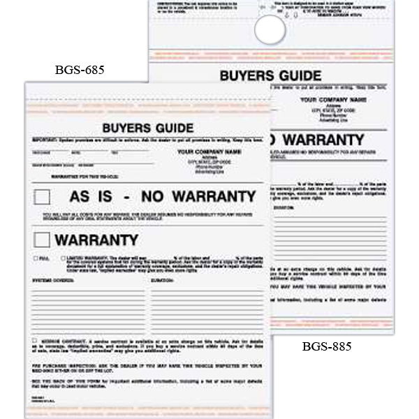Warranty Form - Carbonless buyer's guide warranty with 2 parts.