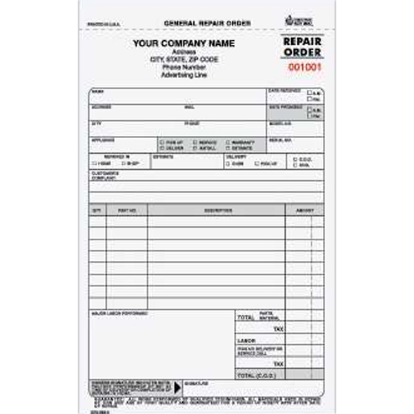 General Repair Order Form - General repair order form with three parts and carbon.