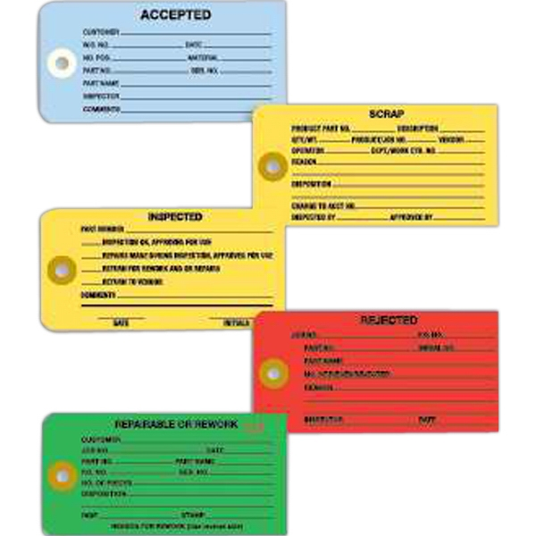 """Work Order Forms - Colored work order tags, 2 5/8"""" x 4 3/4"""". Blank."""