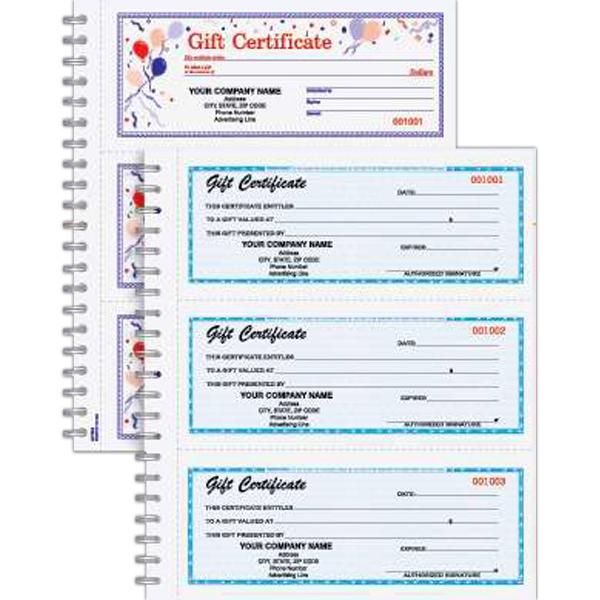 Gift Certificate Wire Bound Book - Wire bound gift certificate book with balloon design, 150 per book.