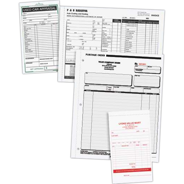 """Custom Business Form - Custom designed carbonless form with last part perforated, 5 1/2"""" x 8 1/2""""."""