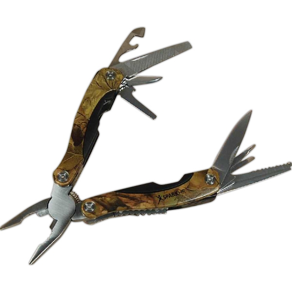 Multi-tool With Camo Pattern Aluminum Handle And Stainless Steel Tools Photo