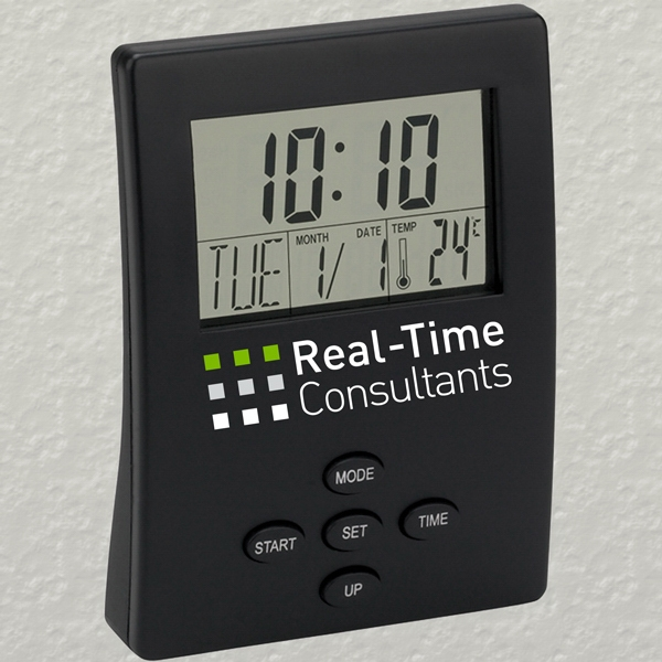Executive Series - Transparent Lcd Display Digital Desk Clock. 7 Different Functions Photo