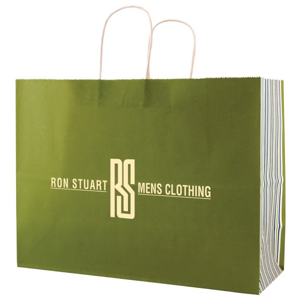 "White Tints And Prints Shopping Bag With Handles, Size 16"" X 6"" X 19.25"" Long Photo"