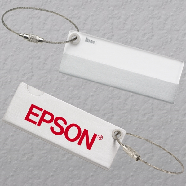Executive Series - Luggage Tag - Metal Tag With Sliding Acrylic Name Card Cover Photo