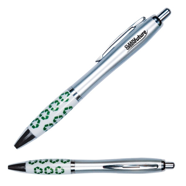 Emissary - Retractable Curvy Plastic Barrel Ballpoint Pen With Recycle Symbol Stock Art Photo
