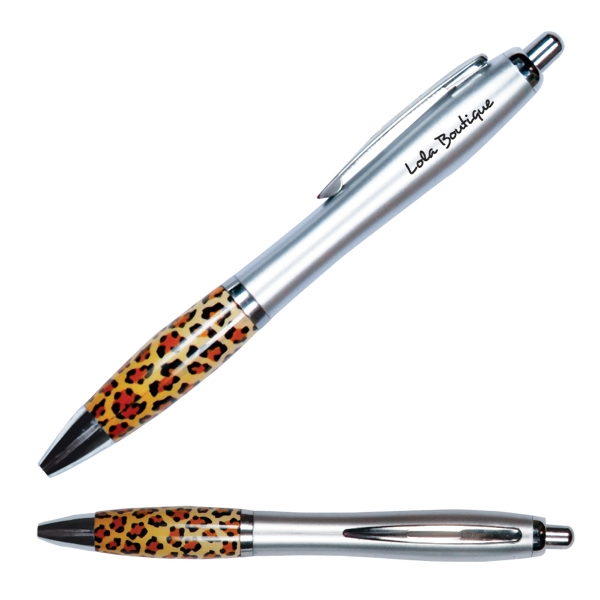 Emissary - Retractable Curvy Plastic Barrel Ballpoint Pen With Leopard Print Stock Art Grip Photo