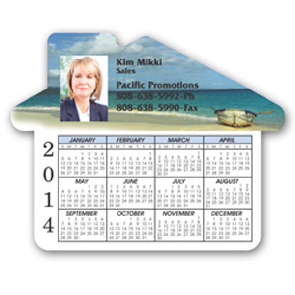 "House Shaped Calendar Magnet, 3 3/4"" X 4 11/16"" Photo"