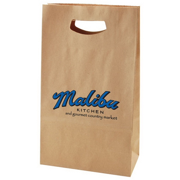 "8"" X 13.5"" - Die Cut Kraft Bag With Handles Photo"