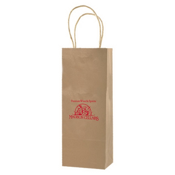 "5.25"" X 13"" - Natural Color Kraft Paper Shopping Bag With Handles Photo"