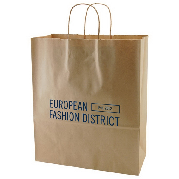 "13"" X 15.75"" - Natural Color Kraft Paper Shopping Bag With Handles Photo"