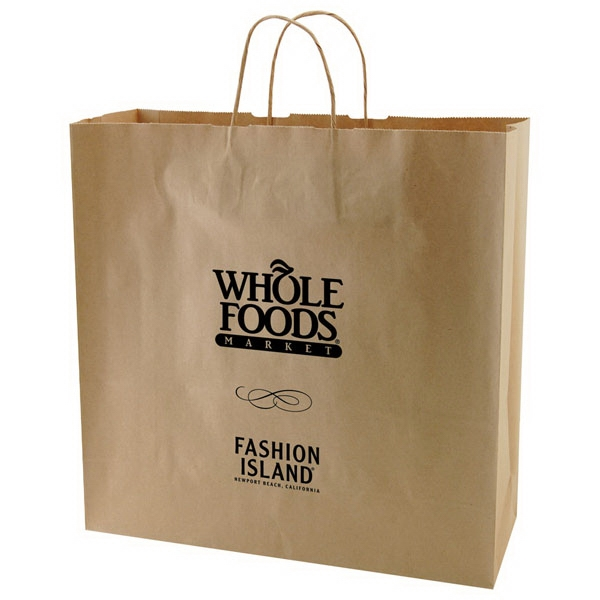 "16"" X 15.75"" - Natural Color Kraft Paper Shopping Bag With Handles Photo"