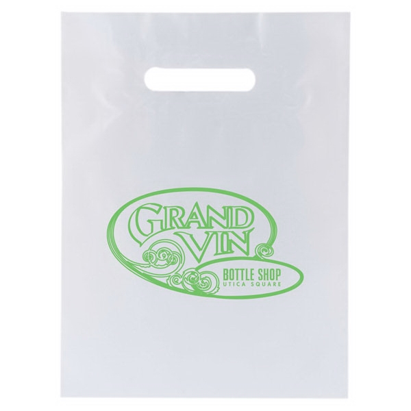 "Enviro Sacks (tm) - 9"" X 12"" - White Shopping Bag With Patch Handle, 2.5 Mil Low Density White Film Photo"