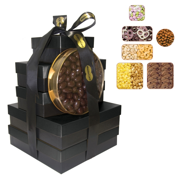 The Imperial Gift Box Tower - Popcorn, Pretzels, Cookies