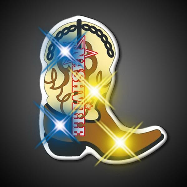Brown Cowboy Boot Flashing LED Lights