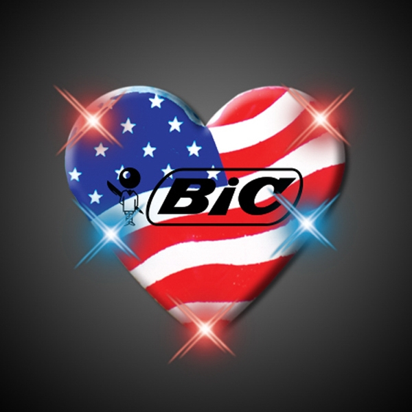 Light Up Heart of America Flashing LED pin