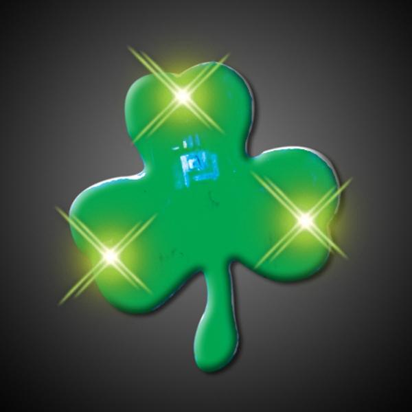 Green Shamrock Flashing Pins
