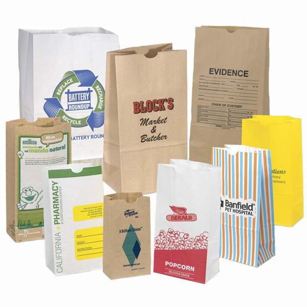 Custom Imprinted SOS Grocery Style Bag 20# - Custom imprinted grocery style bag with serrated top edge, side and bottom gussets.
