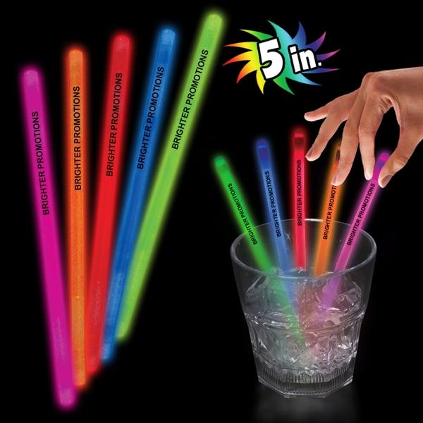 "5"" Single Color Glow Light Up Swizzle Stick"