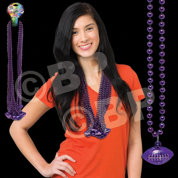 Purple Mardi Gras Beads Beaded Necklace With Football Pendant, Blank Photo