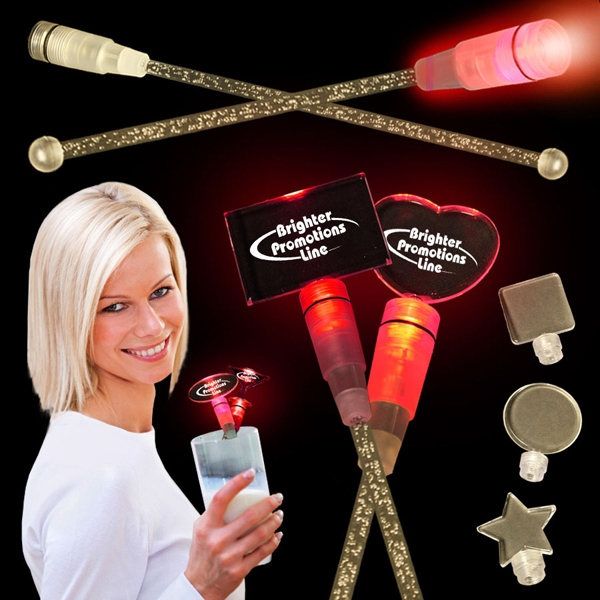 "Red 9"" Light Up Cocktail Stirrer With Topper Photo"