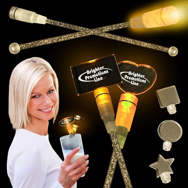 "Amber 9"" Light Up Cocktail Stirrer With Topper Photo"