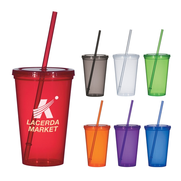 20 Oz. Single-wall, Polypropylene Cup With Matching Snap-on Lid And Straw. Bpa Free Photo