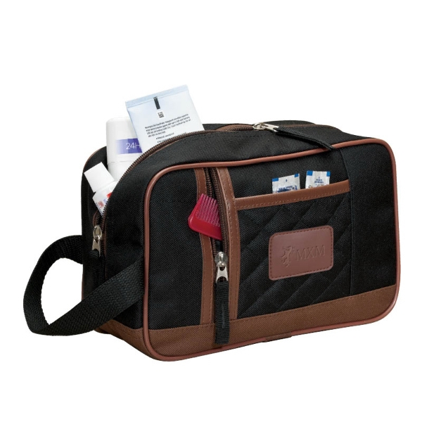 Quilted Finish Toiletry Kit With Leatherette Trim Photo