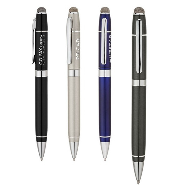 Twist-action Aluminum Ballpoint Pen With Conductive Fiber Stylus Photo