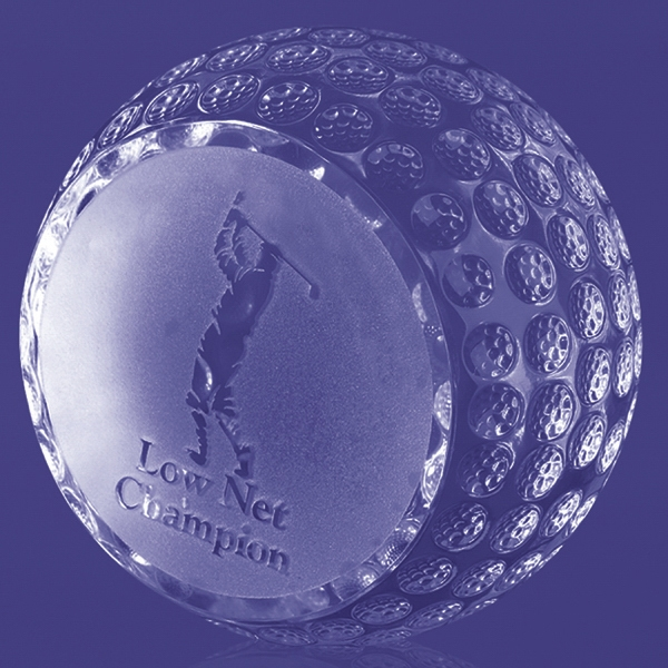 "Trafford - Flat Side Golf Ball Trophy, 3 3/4"" Photo"