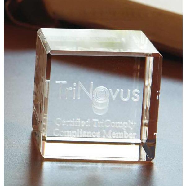 Small Flat Cube 3D Crystal Award