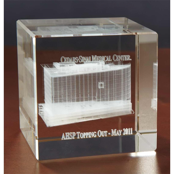 Large Flat Cube 3D Crystal Award