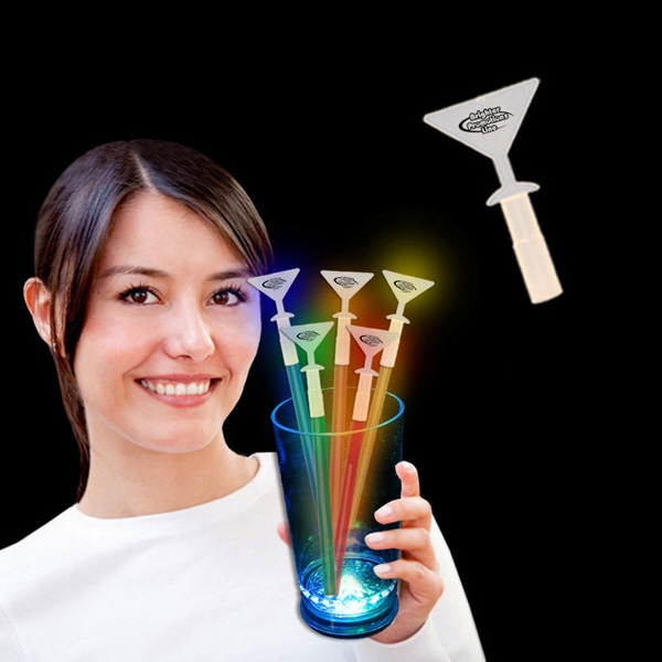 Martini Glass Glow Light Up Swizzle Stick Toppers