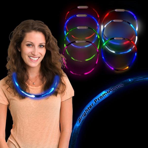 """Blue & White 27"""" LED Glow Light Up Necklace"""