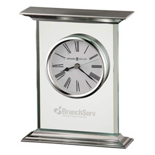 Clifton - Glass And Metal Carriage Table Clock With White Dial And Roman Numerals Photo