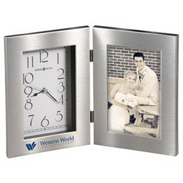 Lewiston - Silver Frame Clock With Swirling Brushed Finish Surrounds The Dial And Picture Photo