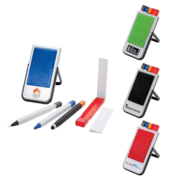 Mobile Device Stand w/Pen, Pencil, Stylus & Microfiber Cloth