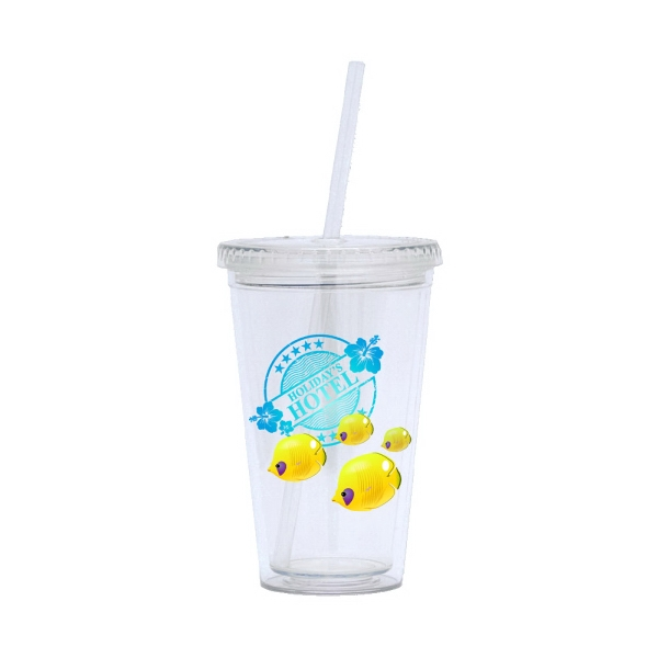 Slide - Bpa Free 16 Oz. Double Wall Acrylic Tumbler With Full Color Insert Photo