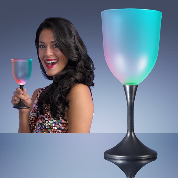 Frosted LED Wine Glass with Classy Black Base
