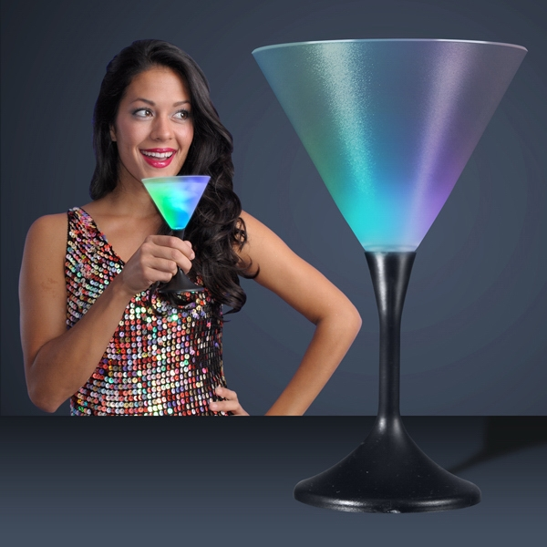 Frosted LED Martini Glass with Classy Black Base
